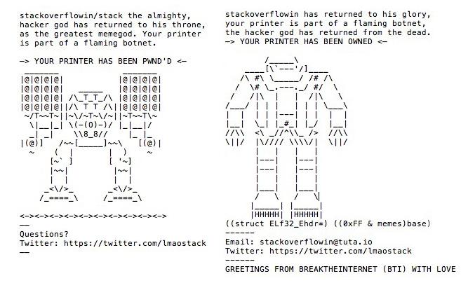 Attacco hacker su stampanti